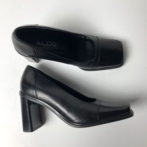 ALDO 90s Leather Square Toe Black Heel Pumps